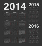 Russian 2014, 2015, 2016 year vector calendars. Simple russian 2014, 2015, 2016 year black vector calendars Stock Photo