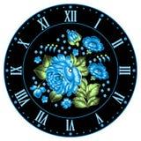 Russian Zhostovo clock face Stock Photography