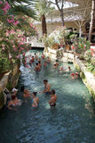 Russians and other tourists swim in the thermal pools Royalty Free Stock Photos