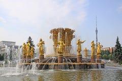 Russie moscou Amitié de ` de fontaine de ` de peuples dans l'exposition des accomplissements de l'économie nationale Images stock
