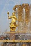 Russie moscou Amitié de ` de fontaine de ` de peuples dans l'exposition des accomplissements de l'économie nationale Photos stock