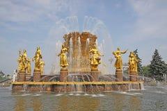 Russie moscou Amitié de ` de fontaine de ` de peuples dans l'exposition des accomplissements de l'économie nationale Photo libre de droits