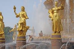Russie moscou Amitié de ` de fontaine de ` de peuples dans l'exposition des accomplissements de l'économie nationale Image stock