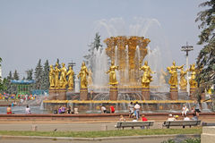 Russie moscou Amitié de ` de fontaine de ` de peuples dans l'exposition des accomplissements de l'économie nationale Photographie stock libre de droits