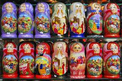 Russion dolls. The Russian Matryoshka is in the shop windows vector illustration