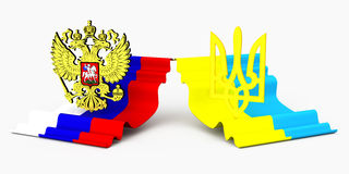 Russion and ukrainian flag and coat of arm Royalty Free Stock Photography