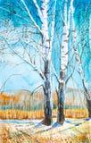 Russisch boslandschap met mooie berken in een opheldering met smeltende sneeuw stock illustratie