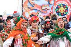 Russisch Carnaval (Maslenitsa) 2011, Moskou Stock Afbeeldingen