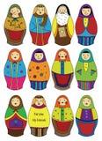 Russisch de poppenpictogram van het beeldverhaal Stock Afbeelding