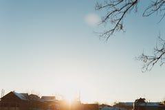 Russisch dorp in de winter Royalty-vrije Stock Afbeeldingen