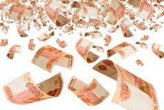 Russisch geld - roebels in de lucht. stock afbeelding