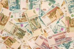 Russisch geld - roebelsbankbiljetten Royalty-vrije Stock Foto
