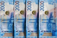 Russisch geld, twee duizend roebels royalty-vrije stock afbeelding