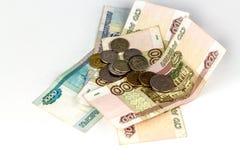 Russisch geld van diverse geïsoleerde benamingen royalty-vrije stock fotografie