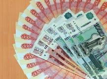 Russisch geld van 5000 en 1000 roebels Stock Afbeeldingen