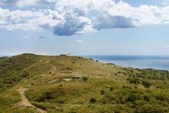 Russisch het torentjekanon van de artilleriebatterij, Kanon op de Heuvel Royalty-vrije Stock Foto's