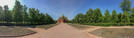 Russisch kerkzuiden Ural Chelyabinsk, panorama royalty-vrije stock afbeelding