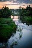 Russisch landschap bij zonsondergang Stock Afbeelding