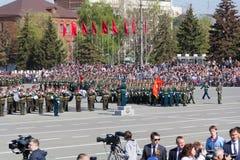 Russisch militair orkest maart bij de parade op jaarlijkse Overwinning Royalty-vrije Stock Afbeelding