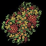 Russisch ornament Traditionele naadloos in hohlomastijl Zwarte bloemenachtergrond met bessen, bladeren, wervelingen vector illustratie
