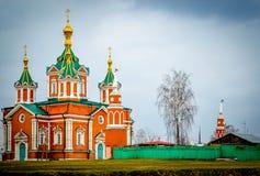 Russisch Orthodox Kerk Gouden Kruis Royalty-vrije Stock Afbeeldingen