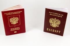 Russisch paspoort en een paspoort Stock Foto's
