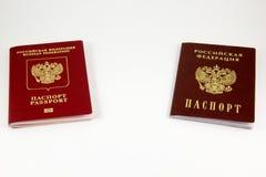 Russisch paspoort en internationaal paspoort Royalty-vrije Stock Foto's