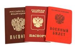Russisch paspoort en Militaire identiteitskaart Stock Afbeelding