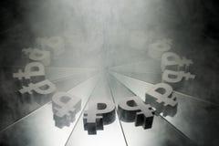 Russisch Roebelvalutasymbool op Spiegel en Behandeld in Rook royalty-vrije stock afbeeldingen