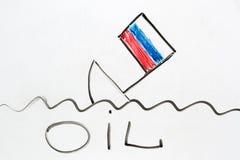 Russisch schip die als symbool die van Russische economie dalen neer vallen Royalty-vrije Stock Afbeelding