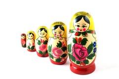 Russisch Speelgoed in lijn Stock Foto