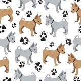Russisch Toy Terrier, naadloos patroon met honden stock illustratie