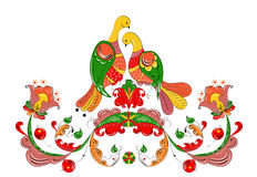 Russisch traditioneel ornament met paradijsvogels en bloemen van Severodvinsk-gebied Royalty-vrije Stock Afbeelding