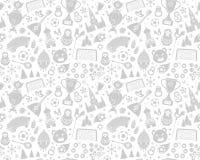 Russisch van het de voetbalkampioenschap 2018 van het Wereldbekervoetbal naadloos patroon als achtergrond Stock Illustratie