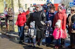 Russisch volks de winterfestival in het Kaluga-gebied op 13 Maart, 2016 Stock Afbeelding