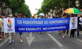 Russische Aktivisten an Paris-homosexuellem Stolz 2009 Lizenzfreie Stockfotos