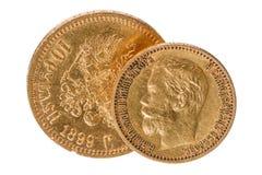 Russische alte Münze des reinen Goldes Stockfotos
