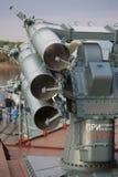 Russische anti-submarine en anti-torpedo raketlanceerinrichting rbu-1000 smerch-3 Achtermeningsclose-up stock fotografie