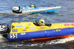 Russische Athleten an Motorboot-Rennshow 2012 Lizenzfreies Stockbild