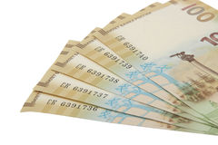 Russische Banknote 100 Rubel eingeweiht der Annexion von Krim 2015 Stockfotos