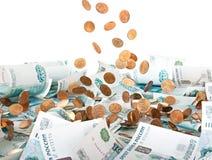Russische Banknoten und Münzen Stockfotografie