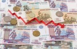Russische Banknoten und Pfeil unten Lizenzfreie Stockfotografie