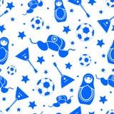 Russische blaue nahtlose Mustertapete lokalisiert auf einem weißen Hintergrund Lizenzfreie Stockfotos