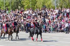 Russische cossacks bij de parade op jaarlijkse Victory Day Royalty-vrije Stock Afbeeldingen