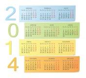 Russische de kleurenkalender van 2014 Royalty-vrije Stock Foto