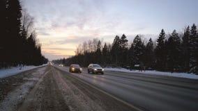 Russische de winterweg timelapse stock video