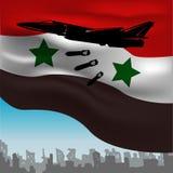 Russische die gevechtsvliegtuigen op de achtergrond worden gebombardeerd van stock illustratie