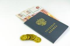 Russische Dokumente Übungsheft, Beschäftigungszahl, ein Dokument, zum von Berufserfahrung zu notieren Russisches Bargeld, Banknot stockfotos
