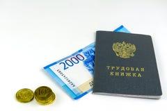 Russische Dokumente Übungsheft, Beschäftigungszahl, ein Dokument, zum von Berufserfahrung zu notieren Russisches Bargeld, Banknot lizenzfreies stockfoto