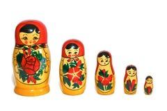 Russische Doll in Enige Rij Royalty-vrije Stock Afbeelding